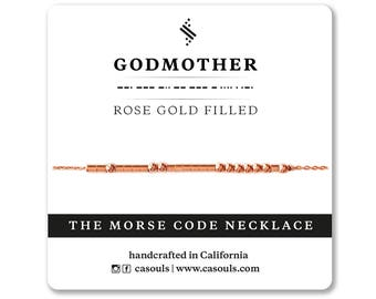 Godmother Morse Code Necklace/Bracelet | GodMother Jewelry, Godmother Gift, Baby Shower Gift, New Born Baby Gift - Silver, Gold, Rose Gold