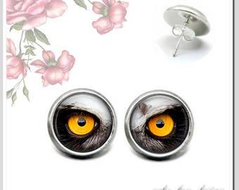 Stud Earrings 12 mm cabochon owl eyes osh-012-004