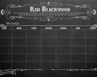 24 x 36 Distressed White Frame - Dry Erase Chalkboard-look Office Calendar poster- Personalized and Framed!