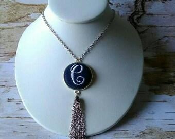 Denim Initial Tassel Fringe Necklace