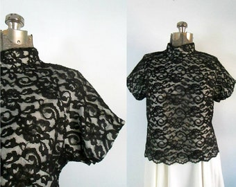 1950s Black Illusion Lace Top // Lady Fame Back Buttoned Blouse // Large Extra Large 46 inch Bust