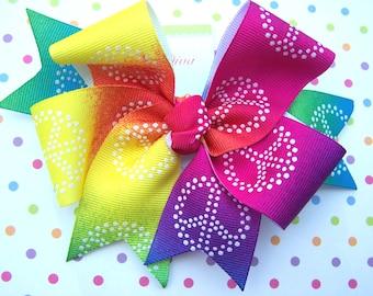 Rainbows and Peace XL Diva Bow