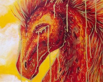 Dragon Acrylic Painting, Fantasy Art  on Canvas Red and Gold