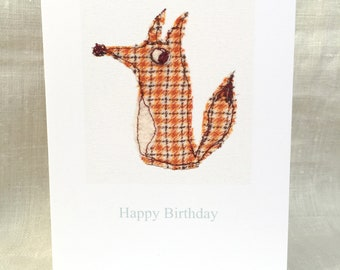 Happy Birthday Card. Foxy. Free-machine Embroidery Print. Birthday cards. Blank cards.