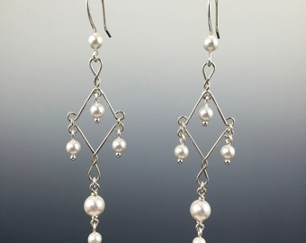 Swarovski Crystal & Sterling Silver Chandelier Earrings, Handmade,