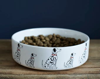 Dalmatian ceramic dog food / water bowl