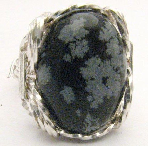 Wire Wrapped  Snow Flake Agate 925 Gemstone Sterling Silver Ring.  Custom Sized to fit you.