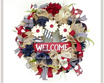 Patriotic Wreath - Patriotic Decor -  Patriotic Welcome - Americana Wreath - Americana Decor - 4th of July Wreath - Memorial Day