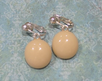 Beige Dangle Clip On Earrings, Beige Dangle Clip On Earring, Cream Clip Ons,  Fused Glass Jewelry, Ready to Ship - Chance -7