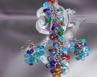 Beaded Confetti Chainmaille Bracelet and Earring Set