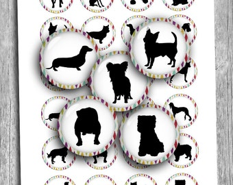 Dog Silhouettes 20mm 1 inch 1.5 inch Round Printable Images Digital Collage Sheet  - Instant Download