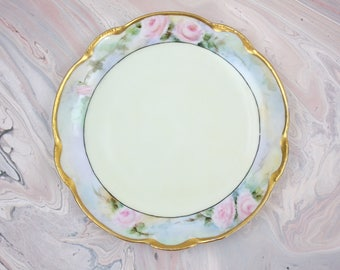 """Bavaria Porcelain Plate, Hand Painted with Pink Roses, Artist Signed Plate, 6 """" Diameter, JHR Bavaria, Antique Plate, Vintage China Plates"""