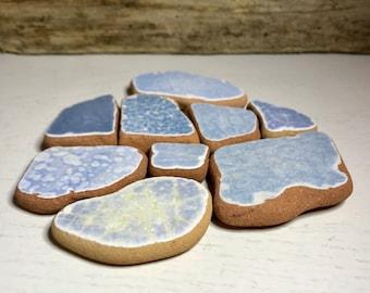 Sea Pottery * Beach Finds Blue Italian Pottery * Ocean Lover Gift * Authentic Mediterranean Bathroom Decor Terracotta Pieces * Beach Home