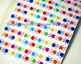 Child Hand Print, Colorful Hand Print Wrapping Paper, free shipping, Instant Download.