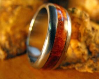 Titanium Ring, Wood Ring, Amboyna Burl Ring, Wedding Ring, Mens Ring, Womens Ring, Engagement Ring, Personalized Ring, Wooden Ring,