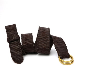 Dark Brown Kangaroo Leather Plaited Unisex Belt with Brass Rings