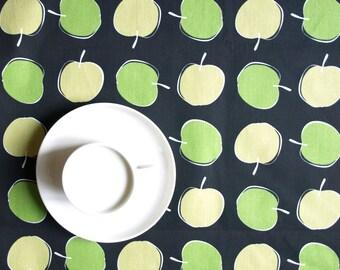 Tablecloth black green beige yellow small  apples Modern Scandinavian Design , runner , napkins , pillow , curtains available, great GIFT