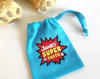 Personalised Superhero Tooth Fairy Bag, Tooth Fairy Keepsake, Tooth Fairy Pouch, Tooth Fairy Sack, Tooth Fairy Bag, Gift For Kids
