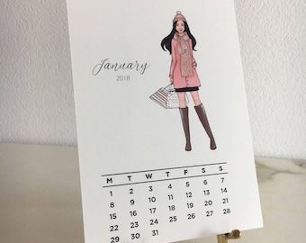 High Quality Desk Calender 2018 with 12 Fashion Illustrations on a brass gold stand
