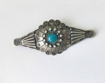 navajo brooch, sterling and turquoise