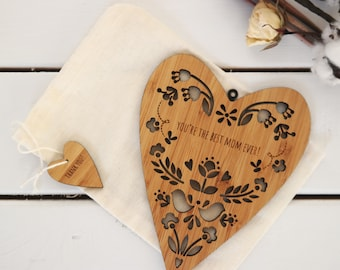 Laser-cut bamboo wall hanging decor for Mother's Day, heart with folk floral design