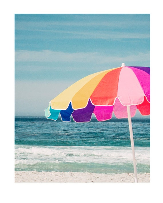 Beach Photography, Coastal, Cottage Decor, Fine Art Print, Summer Art, Children's Room, Nursery Art, Colorful Beach Umbrella
