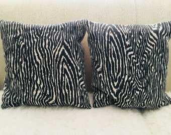 Pair of Custom Made Black and White Faux Bois Fabric Pillows