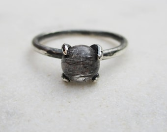 Black rutile quartz ring, tourmalated quartz claw ring, oxidized silver prong gemstone ring, dainty solitaire stone stacking ring, US Sz 6.5