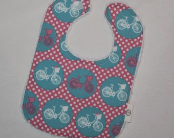 Pink and Blue Whimsical Wheels Dots Chenille Bib