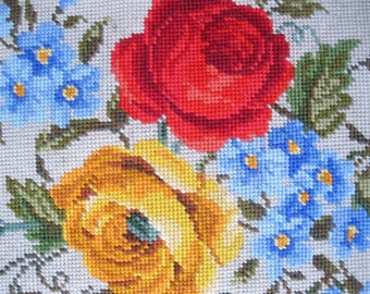 Antique Rose Needlepoint on Canvas, Hand Stitched, Pillow Cover, Chair Cover, Needlework, by mailordervintage on etsy