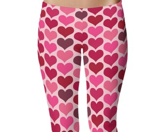 Valentines Day Leggings, Pink and Red Hearts Leggings, February Yoga Pants, Cute Tights, Cute Leggings