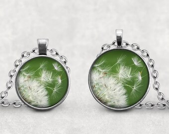 Dandelion Gift, Pendant Necklace Jewelry, Dandelion Cabochon, Gift for her, Dandelion Keychain Key Ring, Rural Jewelry