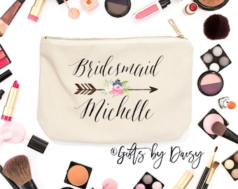 Floral Bridesmaid Makeup bag Makeup Storage, Cosmetic Bag, Wedding Party Cosmetic Bag Bridesmaid makeup Bag, custom gift, monogram c12
