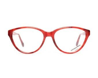 vintage cateye glasses - raspberry red eyeglasses - cat eye frames for women by designer Antonio Miro - 50s deadstock pin up eyeglass frame