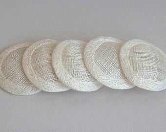 Lot of 5 Mini Sinamay Fascinator Base - Ivory