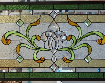 Stained Glass Transom Window Hanging 35 X 17