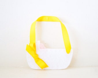CRADLE - Yellow Baby Cradle ORNAMENT - Baby Keepsake - Baby's First Christmas Ornament - White Baby Shower Decor - Baby Cradle Decoration