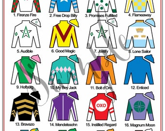 Kentucky Derby Party Printables Leaderboard Jockey Jersey Silks Sign 8x10 or 16X20 Digital File Instant Download AS OF May 2, 2018