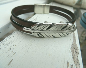 silver feather leather cuff bracelet