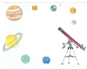 flat note cards:  children's notes - planets