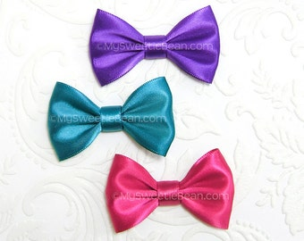 Satin Bows for Babies, Set of 3, No Slip Baby Bows, Alice Bows, 2 inch Bow Tie Hair Bow, Purple, Hot Pink, Teal, Infant Hair Bows