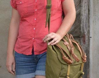 Military Cross Body Bag with LEATHER STRAPS, Vintage Messenger Bag, Shoulder Bag, Army Haversack, Unisex Military Bag, Heavy Duty Canvas Bag
