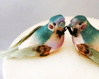 Charming Love Bird Wedding Cake Topper in Green and Purple: Groom & Groom Gay Wedding Cake Topper