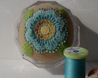 Handmade Pincushion Blue & Tan Felted Wool Floral Pincushion in Glass Container