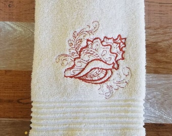 Embroidered Cream Bathroom Hand Towel - Shell