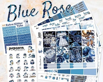 NewRELEASE Blue Rose set kit weekly stickers - for Erin Condren VERTICAL Planner - floral flowers girls fashion summer