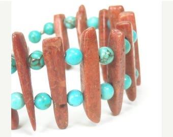 Sale| Tribal Real Turquoise Bracelet - Turquoise and Red Creek Jasper Stick Bracelet - Southwest Jewelry - Gemstone Bracelet - Turquoise Jew