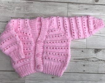 Baby cardigan, baby sweater, hand knitted baby cardigan, pink baby cardigan, 0-3 months