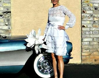 Bridal Separates-Bridal Skirt-Wedding Skirt-Wedding Dress-Hand Layered Femme Couture Ruffled Linen Skirt-Modern Chic Bride