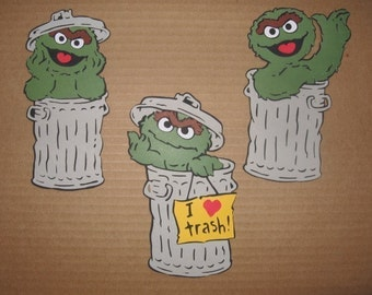 Oscar the Grouch- set of 3 diecuts- fully assembled- 5 1/2 inches tall-cricut